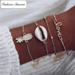 Fashione Shanone - Ensemble de 4 bracelets dorés boho