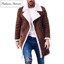 Fashione Shanone - Manteau marron avec laine d'agneau
