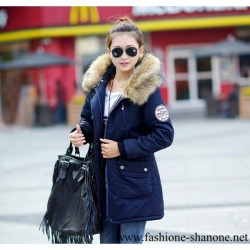 305 - Fur hooded blue long coat