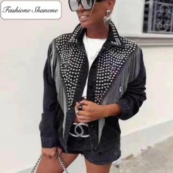 Fashione Shanone - Veste en jean cloutées avec franges