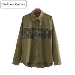 Fashione Shanone - Army green shirt with fringes