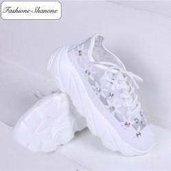 Fashione Shanone - Baskets transparentes fleuries avec diamants