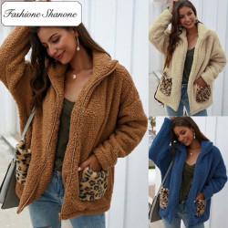 Fashione Shanone - Veste polaire avec poches léopard