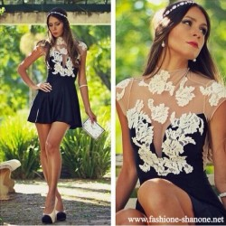 305 - Black dress with white lace