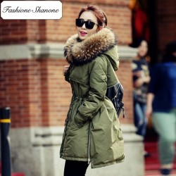 Fashione Shanone - Parka kaki avec capuche en fourrure