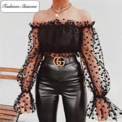 Fashione Shanone - Blouse à pois avec manches transparentes