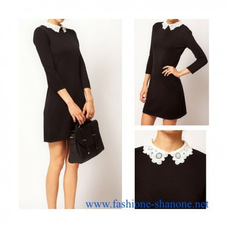 305 - Lace collar black dress