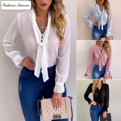 Fashione Shanone - Polka dot see through blouse