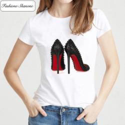 Fashione Shanone - Red bottom pumps T-shirt