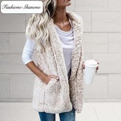Fashione Shanone - Sleeveless fluffy jacket
