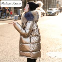 Fashione Shanone - Long metallic down coat