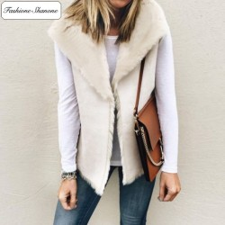 Fashione Shanone - Sleeveless suede jacket