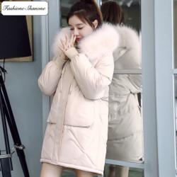 Fashione Shanone - Parka beige avec capuche en fourrure
