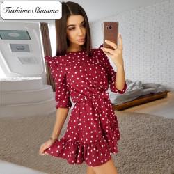 Fashione Shanone - Robe bordeaux à pois