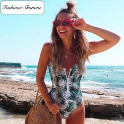 Fashione Shanone - Maillot de bain une pièce palmier avec fermeture éclair