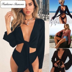 Fashione Shanone - Bow knot top with flared sleeves