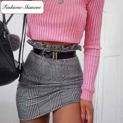 Fashione Shanone - Black and white plaid skirt