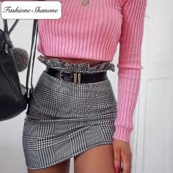 Fashione Shanone - Jupe plaid noire et blanche