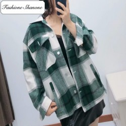 Fashione Shanone - Green plaid shirt jacket