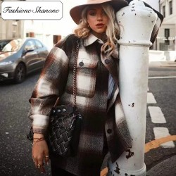Fashione Shanone - Brown plaid shirt jacket