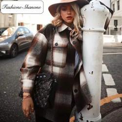 Fashione Shanone - Veste chemise plaid marron