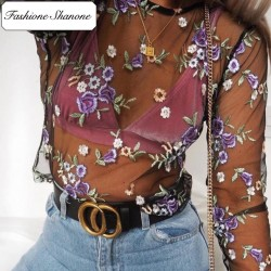 Fashione Shanone - Top transparent fleuri