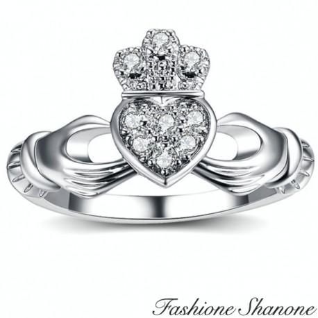 Silver ring heart and crown