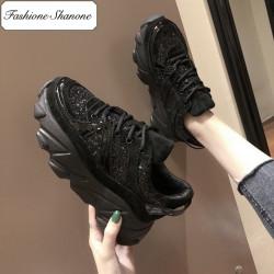 Fashione Shanone - Black glitter sneakers