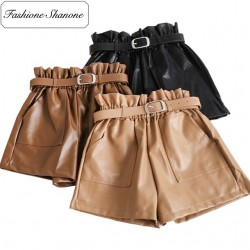 Fashione Shanone - High waist leather shorts