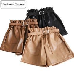 Fashione Shanone - Short taille haute en cuir