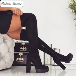 Fashione Shanone - Black platform over the knee boots