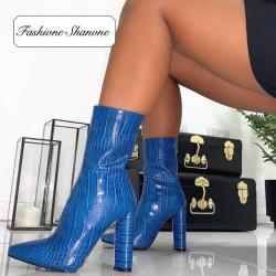 Fashione Shanone - Blue croco boots