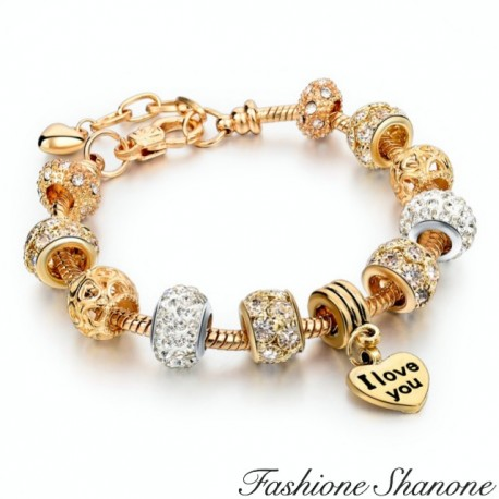 Charms gold with rhinestones bracelet