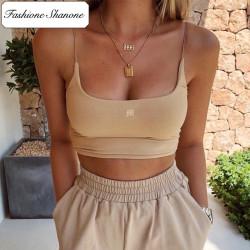 Fashione Shanone - Crop top beige