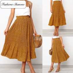 Fashione Shanone - Orange maxi skirt with polka dot