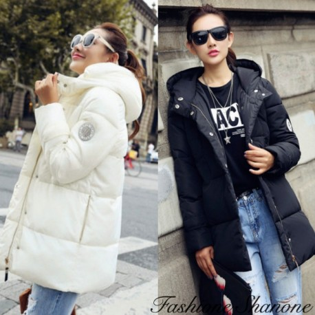 Knee down coat with hooded fur