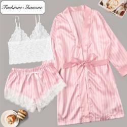 Fashione Shanone - Ensemble de vêtements de nuit rose rayé