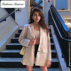 Fashione Shanone - Beige oversize blazer