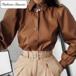 Fashione Shanone - Brown leather shirt