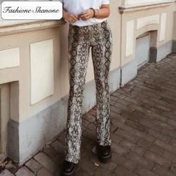 Fashione Shanone - Pantalon pattes d'éléphant serpent
