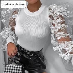 Fashione Shanone - Lace long sleeves T-shirt