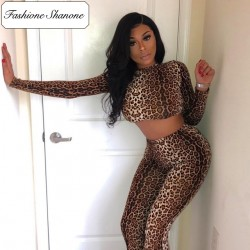 Fashione Shanone - Ensemble crop top et legging léopard
