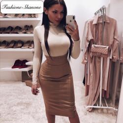 Fashione Shanone - High waist suede skirt