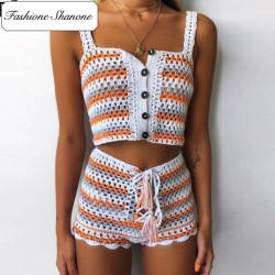 Fashione Shanone - Ensemble top et short en crochet