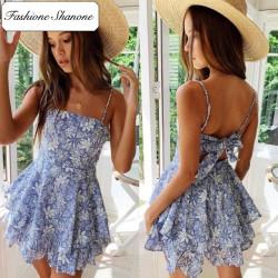Fashione Shanone - Robe bleue fleurie