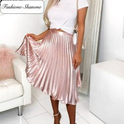 Fashione Shanone - Pink pleated skirt