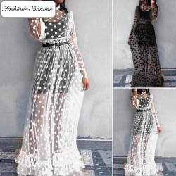 Fashione Shanone - Robe longue transparente à pois