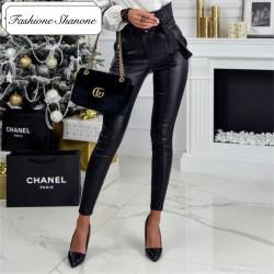 Fashione Shanone - Pantalon en cuir taille haute