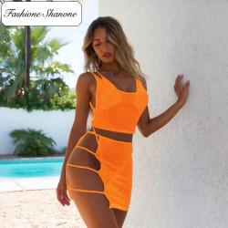 Fashione Shanone - Ensemble bikini et crop top jupe transparent