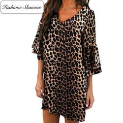 Fashione Shanone - Flared sleeves leopard dress